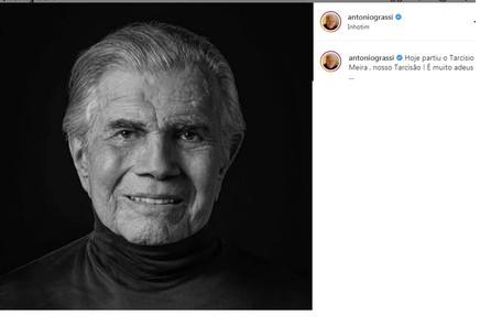 Antonio Grassi mencionou o apelido do ator em seu adeus Reprodução