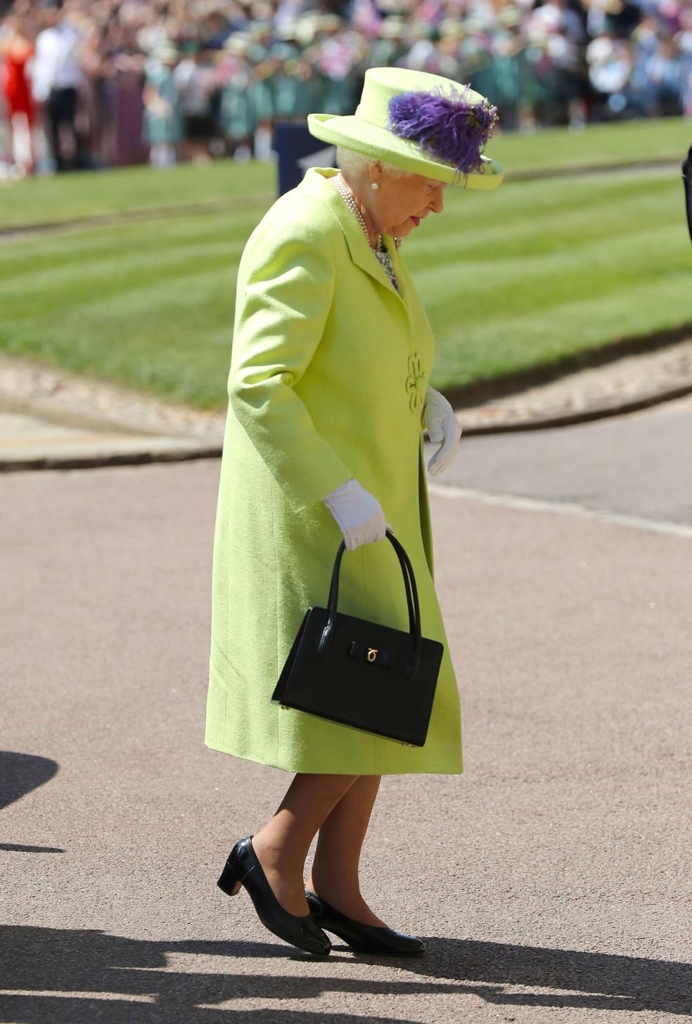 Rainha Elizabeth II chega ao casamento  (Foto: Gareth Fuller/Pool via REUTERS)
