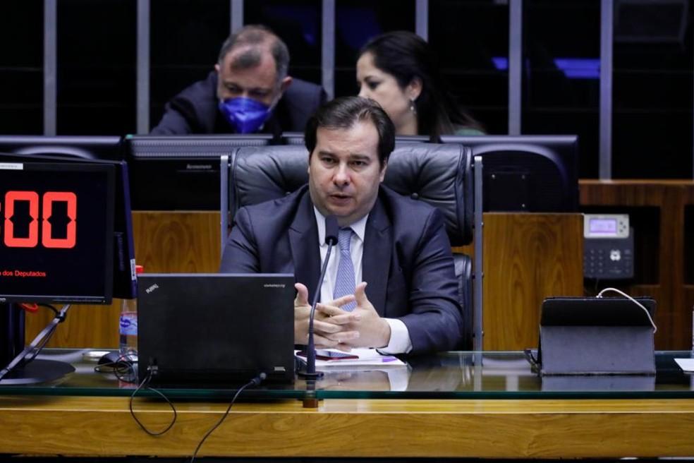 Presidente da Câmara, Rodrigo Maia (DEM-RJ), em sessão de votação do 'orçamento de guerra' — Foto: Cleia Viana/Câmara dos Deputados