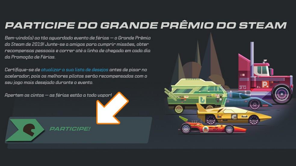 """Abra a página do Grande Prêmio do Steam de 2019 e clique em """"Participe"""" para começar — Foto: Reprodução/Rafael Monteiro"""