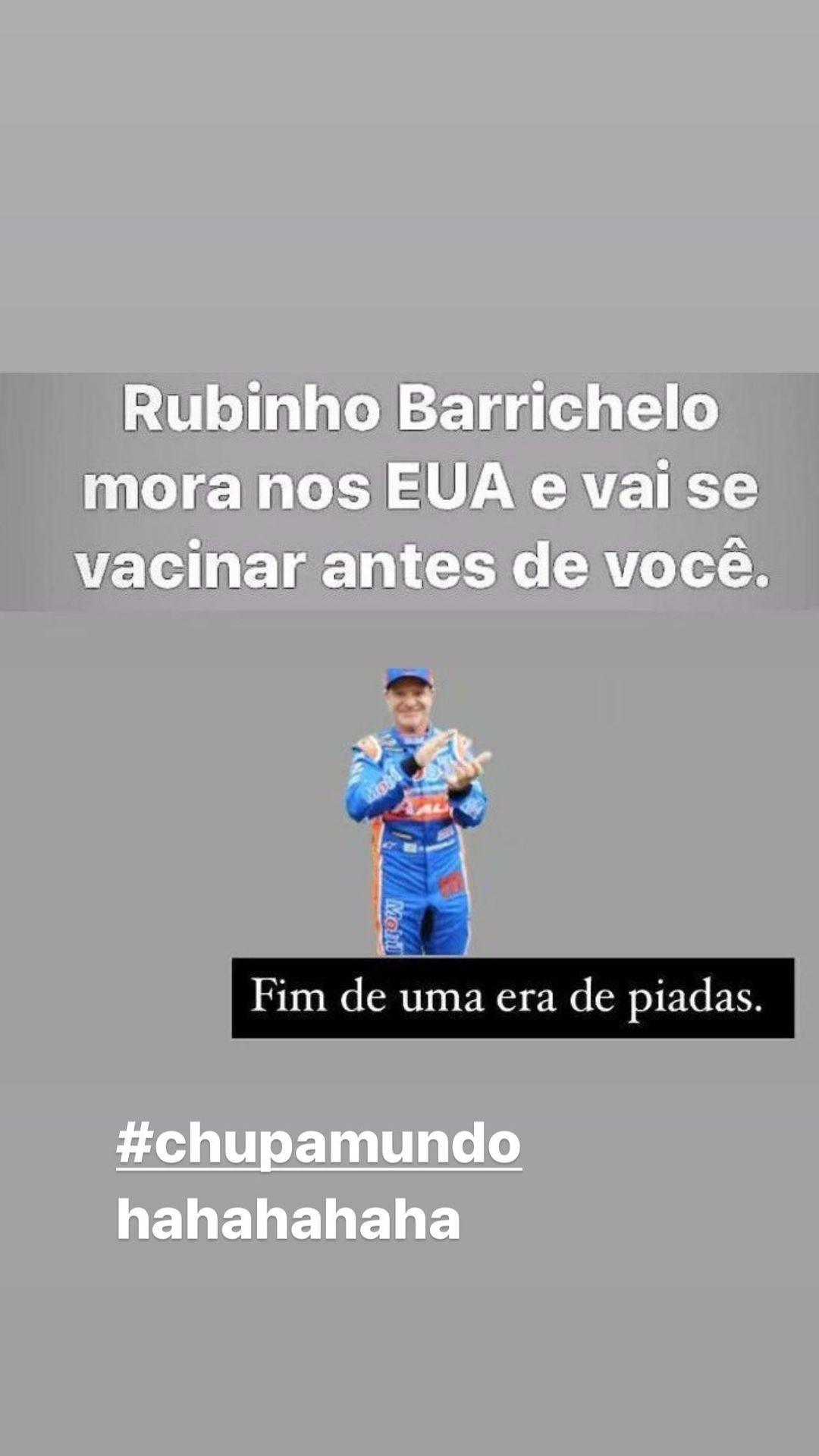 Rubens Barrichello ironiza fama de atrasado (Foto: Reprodução/Instagram)