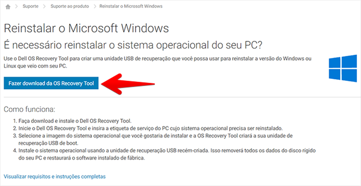 Dell Recovery Tool | Download | TechTudo