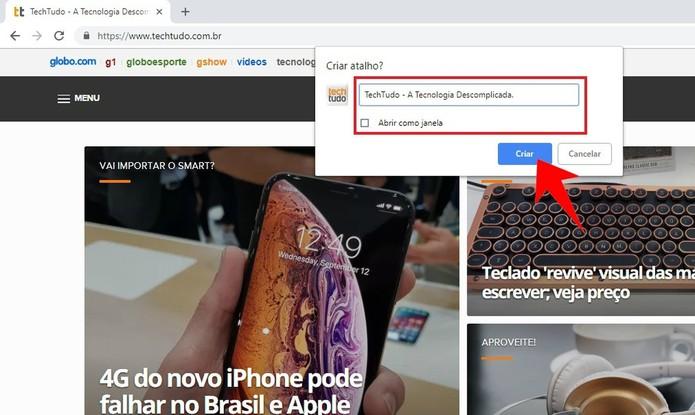 Criando um atalho do Google Chrome na área de trabalho do computador (Foto: Reprodução/Rodrigo Fernandes)