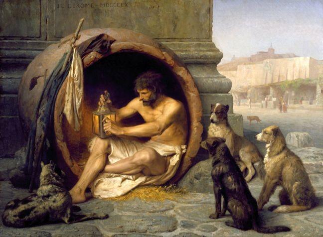 Diógenes sentado em seu barril cercado por cães. Pintura, óleo sobre tela, de Jean-Léon Gérôme, 1860 (Foto: Walters Art Museum, Baltimore, Estados Unidos)