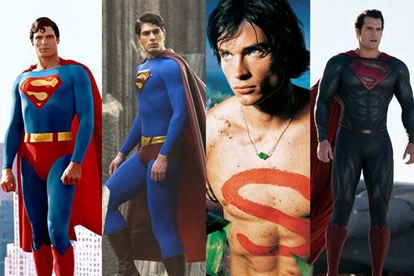 Christopher Reeve em Superman: O Filme (1978), Brandon Routh em Superman: O Retorno (2006), Tom Welling na série Smallville (2001 - 2011), Henry Cavill em Batman vs Superman: A Origem da Justiça (2016) (Foto: Divulgação)