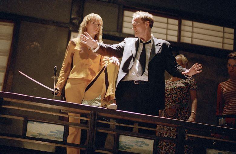 Uma Thurman e Quentin Tarantino nos bastidores de Kill Bill (2004) (Foto: Reprodução)