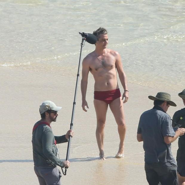 Wagner Moura grava filme no Arpoador (Foto: AgNews)