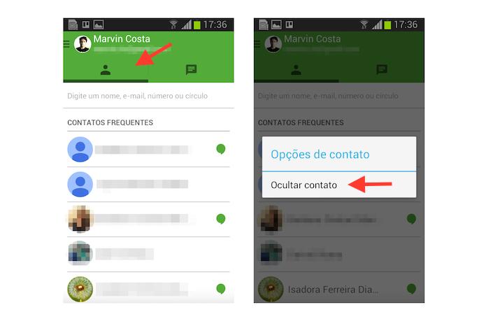 Ocultando uma conversa do histórico do Hangouts para Android (Foto: Reprodução/Marvin Costa)