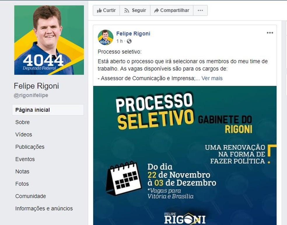 Vagas foram anunciadas por deputado federal eleito no ES  — Foto: Reprodução/ Facebook