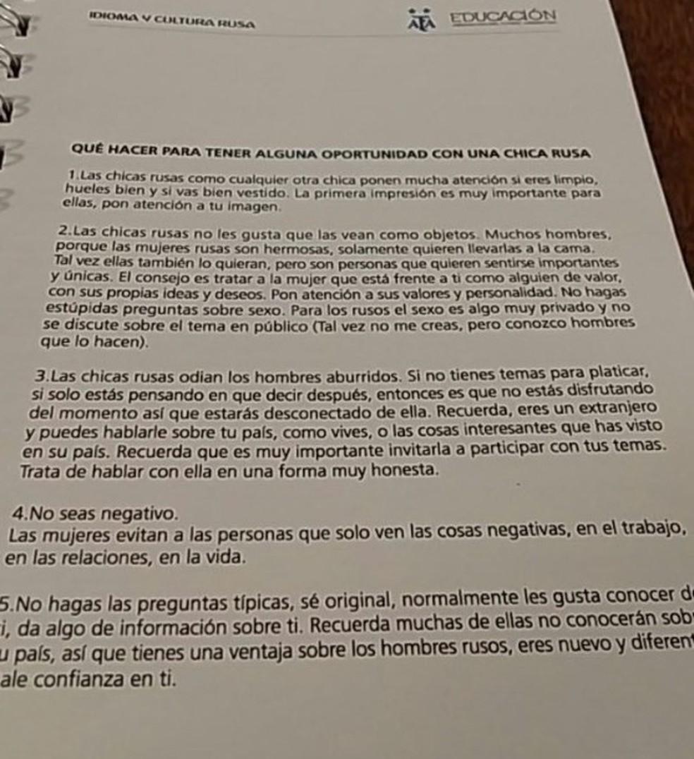 Manual da AFA para cativar russas (Foto: Reprodução)