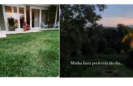 Donatella, filha do casal, mostra a varanda. À direita, a vista da casa Reprodução