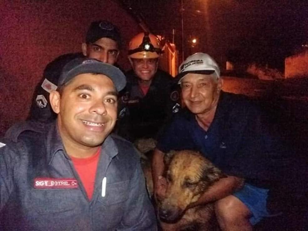 Animal ficou preso entre duas paredes em Varginha (MG) — Foto: Corpo de Bombeiros