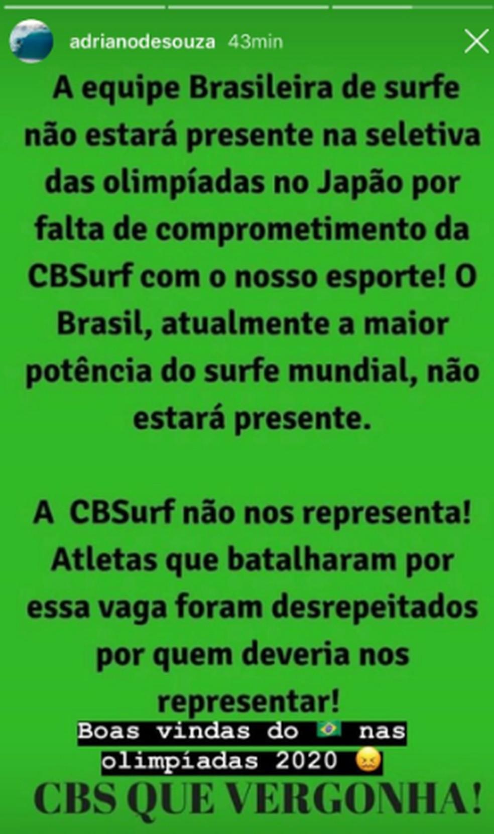 Adriano de Souza criticou a CBSurf sobre o cancelamento — Foto: Reprodução Instagram
