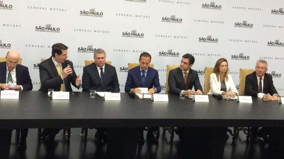 Anúncio de aporte bilionário e investimentos na GM foi feito nesta terça (19) na capital — Foto: Carlos Santos/G1