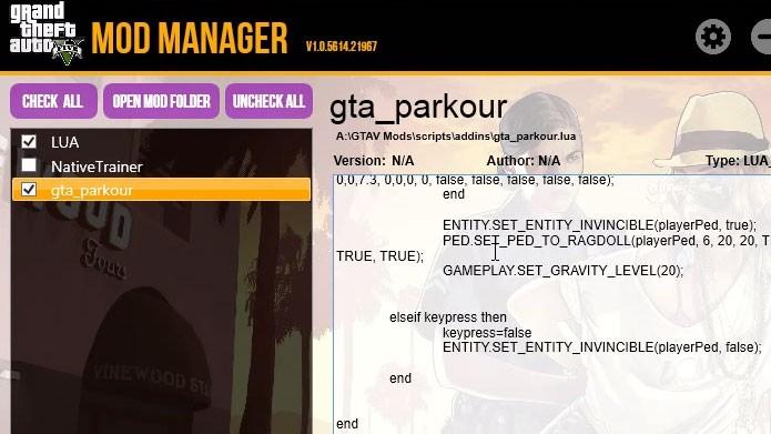 Os mods instalados em GTA V vão aparecer na lista à esquerda (Foto: Reprodução/Youtube)