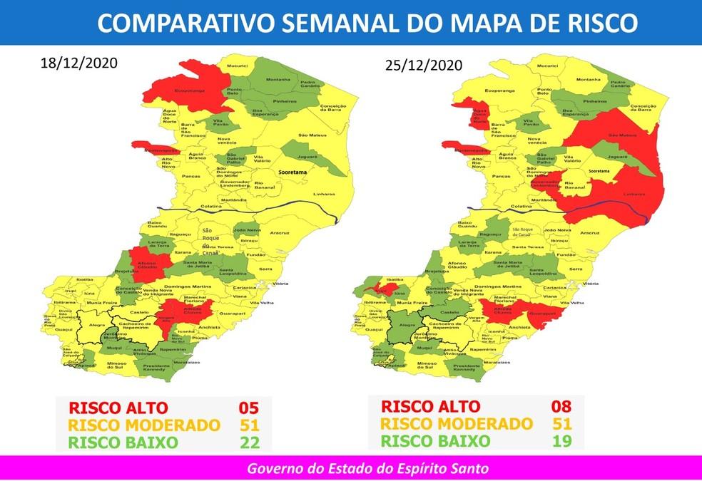 Comparativo entre o 36º e o 37º Mapas de Risco da Covid-19 do Espírito Santo — Foto: Divulgação/Governo ES