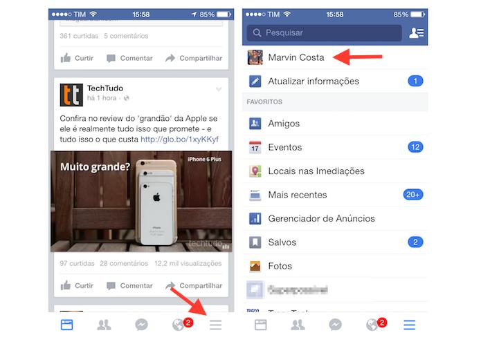 Acessando o perfil de usuário no Facebook (Foto: Reprodução/Marvin Costa)