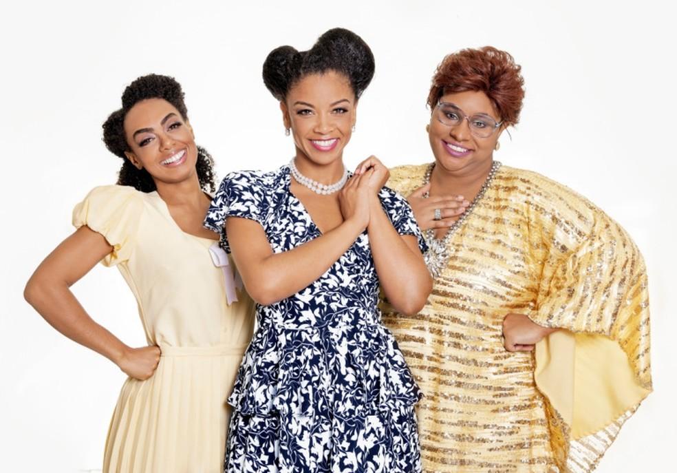 As atrizes Dandara Ferreira, Heloísa Jorge e Fernanda Jacob vivem Dona Ivone Lara no musical — Foto: Divulgação / J. Vitorino
