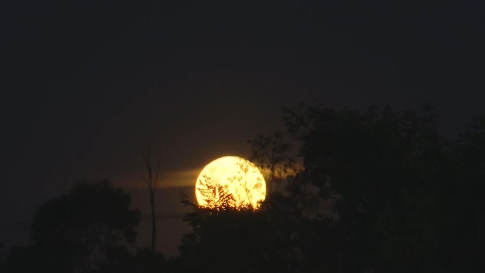 Superlua registrada no DF — Foto: TV Globo/Reprodução
