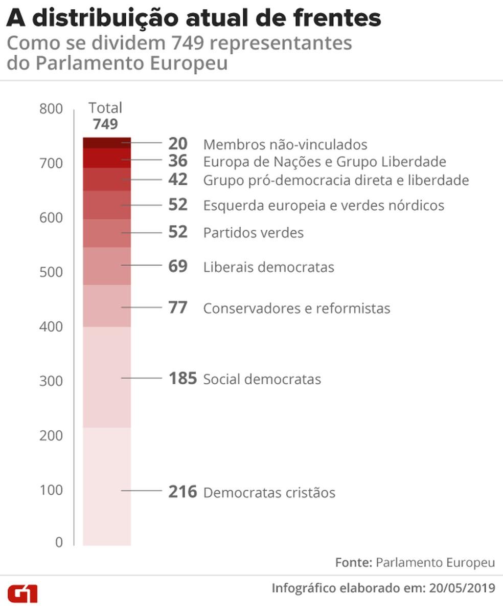 Composição do Parlamento Europeu — Foto: Infografia: Diana Yukari/G1