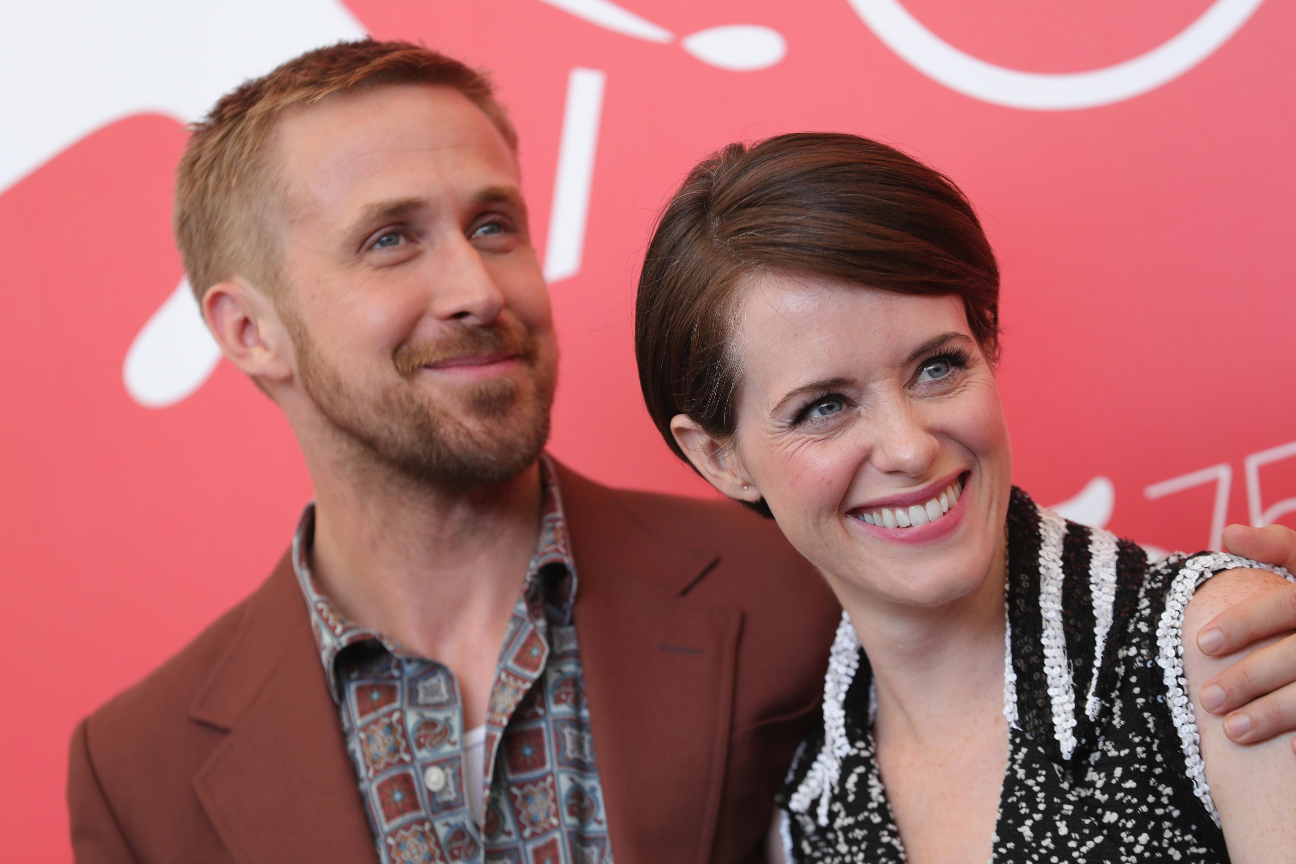 Ryan Gosling e Claire Foy na coletiva de O Primeiro Homem em Veneza (Foto: Getty Images)