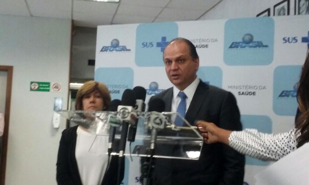 O ministro da Saúde, Ricardo Barros, em coletiva de imprensa sobre campanha de multivacinação nesta quarta-feira (13) (Foto: Raquel Morais/G1)