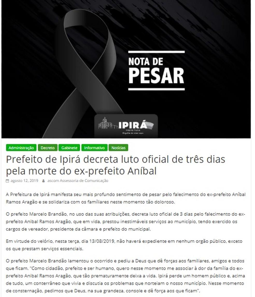 Prefeitura de Ipirá divulgou nota de pesar e decretou três dias de luto — Foto: Reprodução/Redes Sociais