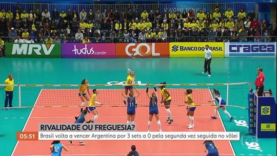 Brasil volta a vencer Argentina por 3 sets a 0 pela segunda vez seguida no vôlei