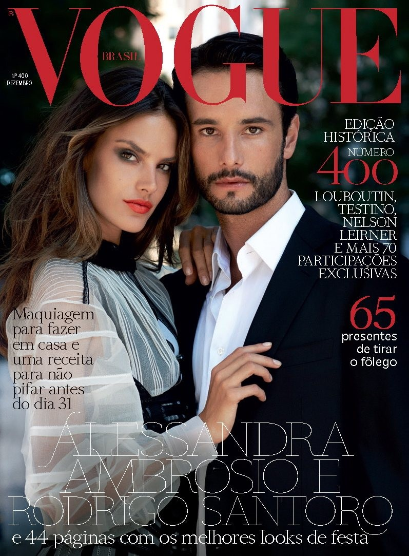 Alessandra Ambrosio with Rodrigo Santoro on the cover of the December 2011 issue (photo: Eric Guillemain)