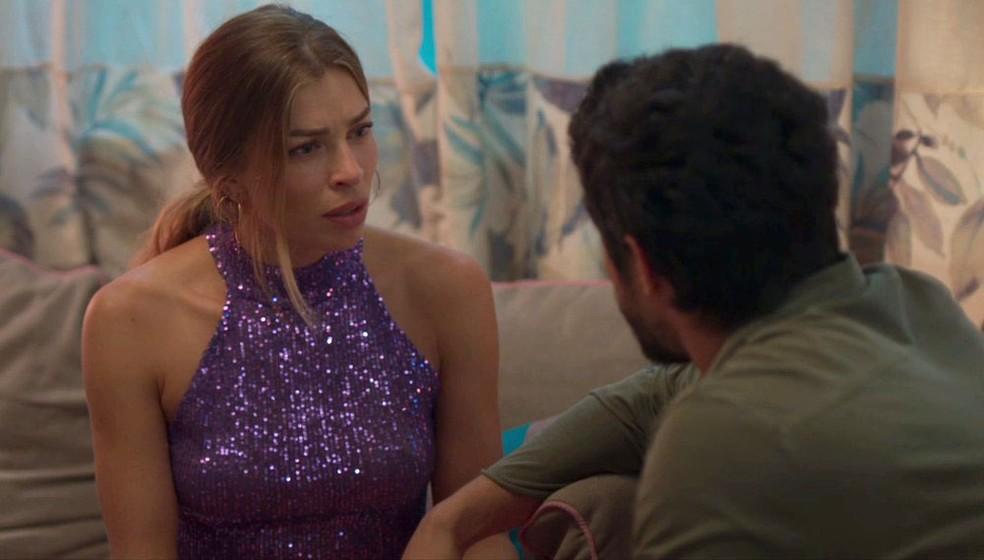 Paloma se desespera ao saber de plano de Diogo para matá-la — Foto: TV Globo