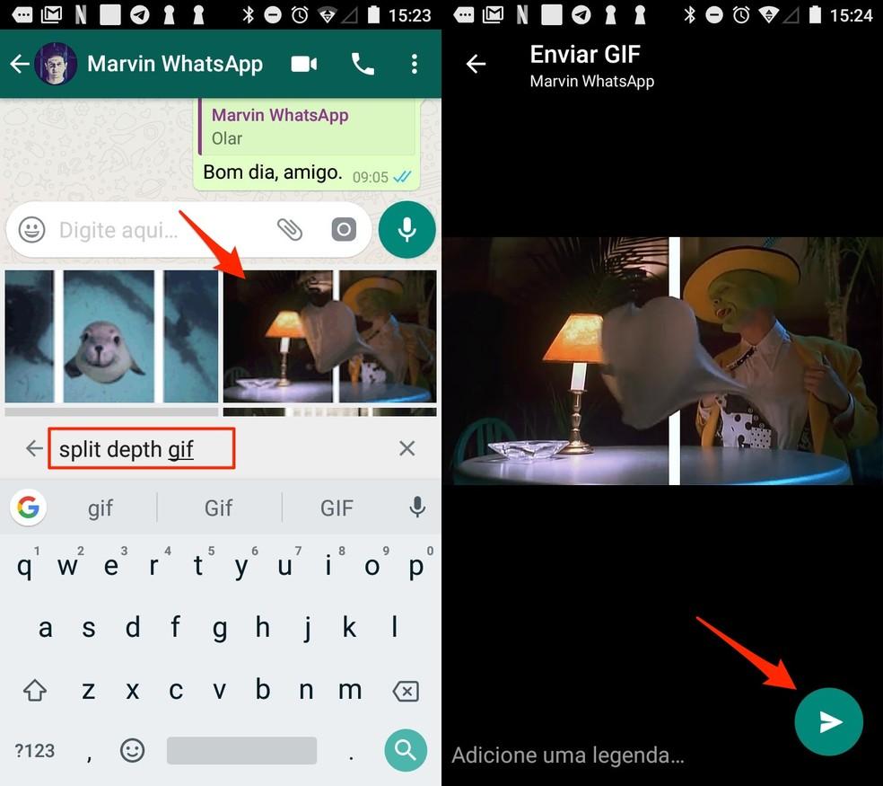 Ação para enviar uma GIF em 3D no WhatsApp para Android — Foto: Reprodução/Marvin Costa