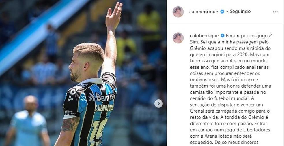 Caio Henrique se despede do Grêmio — Foto: Reprodução / Instagram