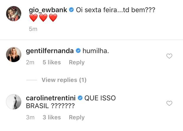 Os comentários de Fernanda Gentil e Carol Trentini no post de Giovanna Ewbank (Foto: Reprodução Instagram)