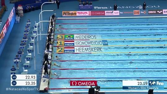 Etiene Medeiros arranca seu 1º pódio nos 50m livre, e Brasil fecha Mundial na China com 8 medalhas