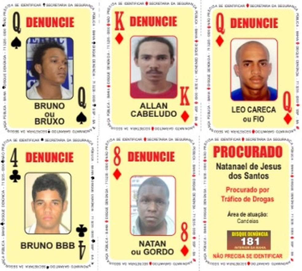 'Baralho do Crime' é atualizado com cinco novos procurados pela polícia — Foto: Divulgação/SSP-BA