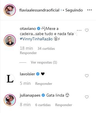 Comentários feitos por Otaviano Costa e Juliana Paes no clique publicado por Flávia Alessandra no Instagram (Foto: Reprodução: Instagram)