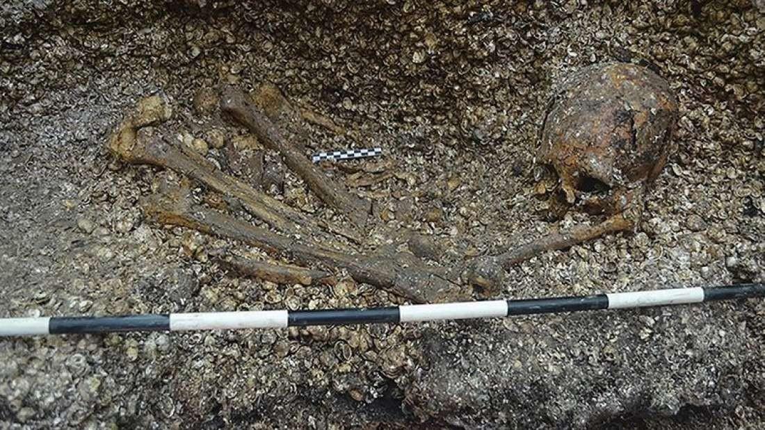 Ossos localizados em sítio arqueológico na Nicarágua (Foto: Divulgação)