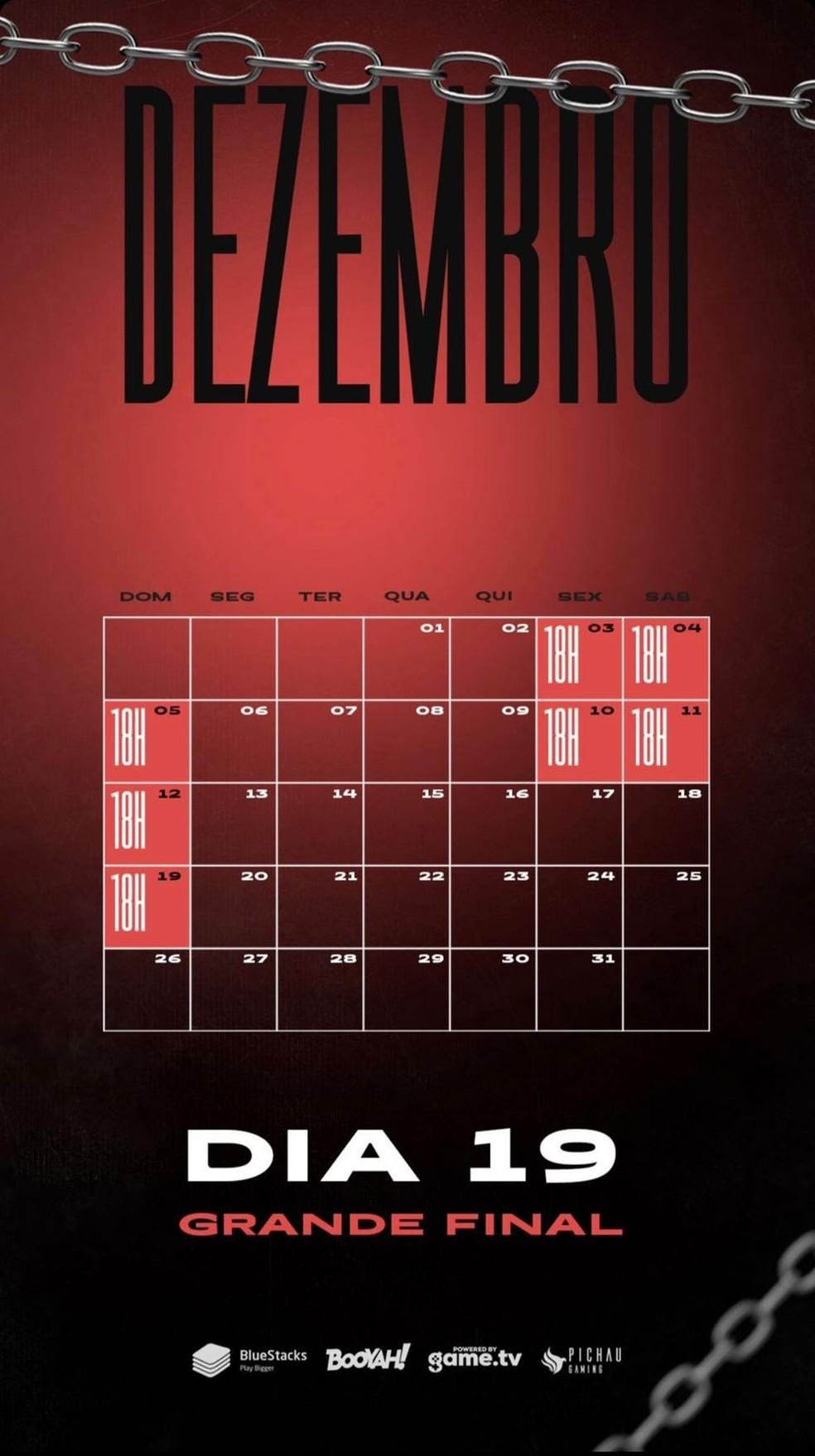 Calendário de dezembro da Season 6 — Foto: divulgação/Liga NFA