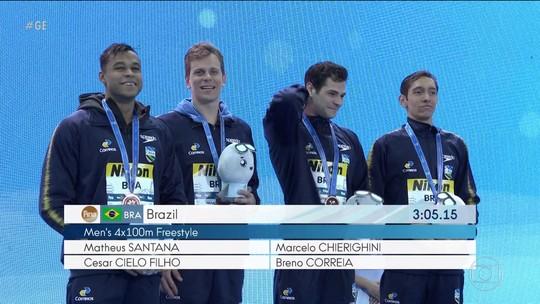 Brasil fatura o bronze no revezamento 4x100 nado livre no mundial e piscina curta