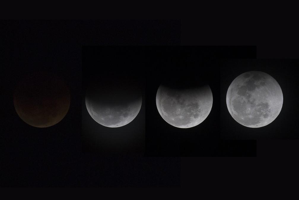 """ECLIPSE NO BRASIL: Imagem em múltipla exposição mostra o mais longo eclipse lunar do século 21, em Contagem (MG), nesta sexta-feira, 27. Ao passar entre o Sol e a Lua, a Terra produz uma sombra escura sobre o disco lunar, a umbra, e a penumbra, que é uma região cinzenta.Quando totalmente imersa na umbra, a Lua não fica invisível, mas ganha uma cor de cobre, avermelhada, """"de sangue"""".  (Foto: Douglas Magno/O Tempo/Estadão Conteúdo)"""