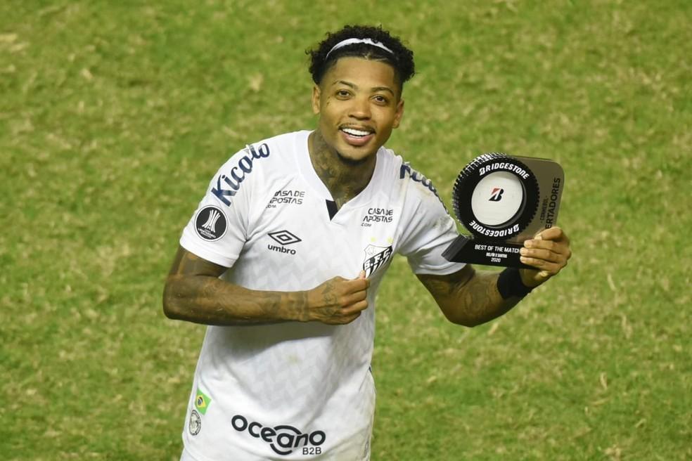 Marinho é eleito o melhor em campo em vitória sobre o Delfín — Foto: Ivan Storti/Santos FC