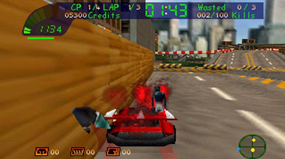 Carmageddon 64 tinha uma jogabilidade péssima e fazia jogadores passarem boa parte do tempo nas paredes (Foto: Reprodução/The Cutting Room Floor)