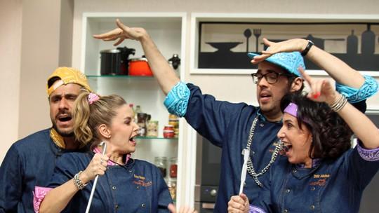 Elenco se diverte em gravação de paródia para o 'Super Chef'