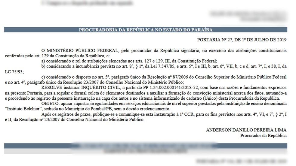 Conversão do inquérito foi publicado no Diário Eletrônico do MPF desta sexta-feira (5)  — Foto: Reprodução