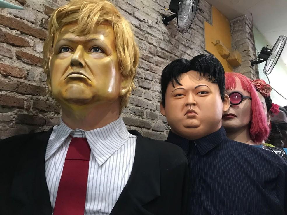 Ditador norte-coreano Kim Jong Un vira boneco gigante e vai desfilar no carnaval 2018 de Olinda (Foto: Thays Estarque/G1)