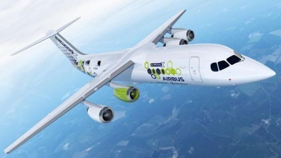 A Airbus, a Rolls-Royce e a Siemens estão cooperando na criação de um avião híbrido elétrico chamado E-Fan X — Foto: Airbus