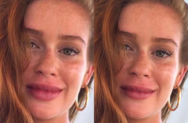 Marina Ruy Barbosa em foto alterada (esq) e em foto real (dir) (Foto: Reprodução/Instagram)