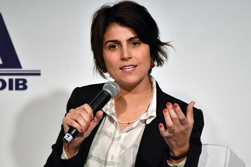 Manuela D'Ávila divulgou nota em rede social nesta sexta-feira (26) — Foto: Nelson Almeida, AFP