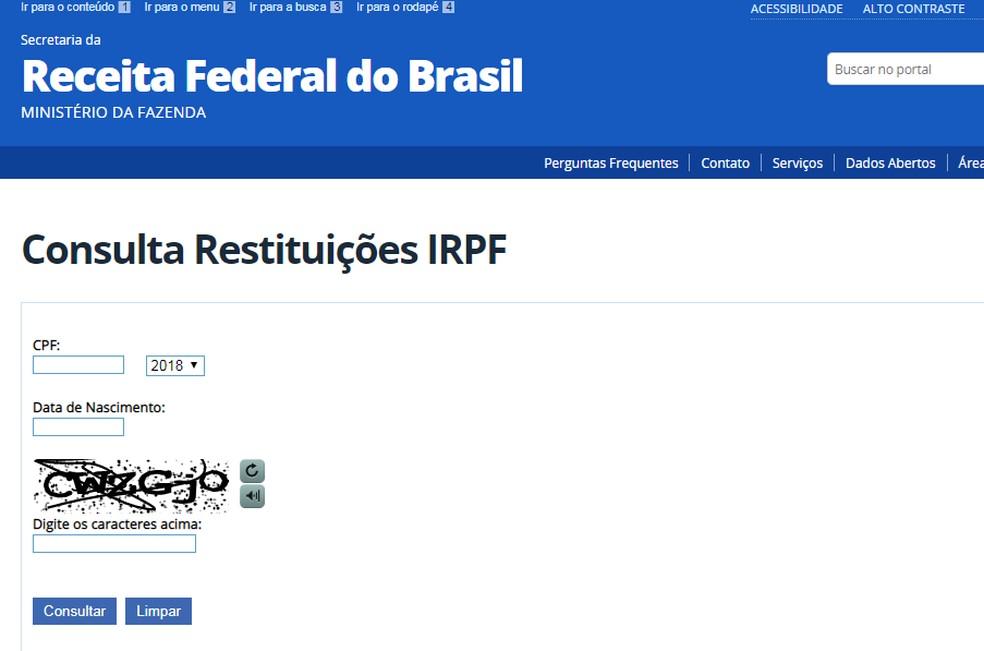 Página de consulta a restituições do IR. — Foto: Receita Federal/Reprodução