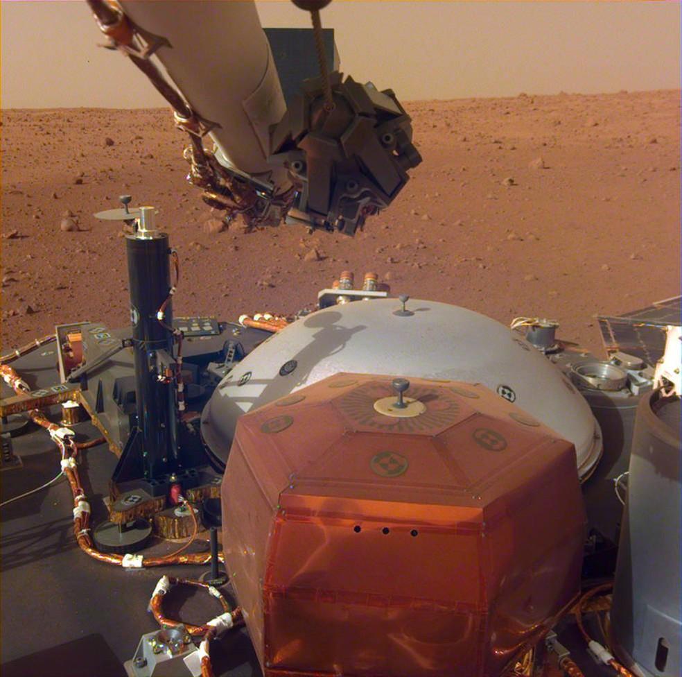 Imagem de Marte feita pela sonda Insight — Foto: Nasa